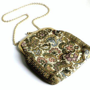 Paisley Purse, Tapestry Handbag, Small Shoulder Bag With Chain Strap, Needlepoint Handbag, Made in Italy, Floral Handbag, Walborg Purse