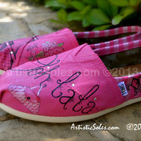 Paris Theme Custom TOMS Shoes III - ADULT - with flowers