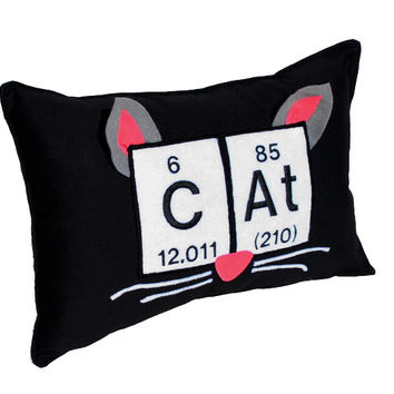 "Cat Periodic Table Embroidered Pillow -10"" x 15"""