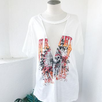 WANTED MESH TEE- WHT