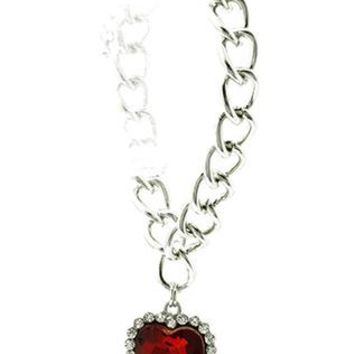 Faceted Glass Stone Heart Charm Chain Pave Crystal Stone Chunky Link Braclet