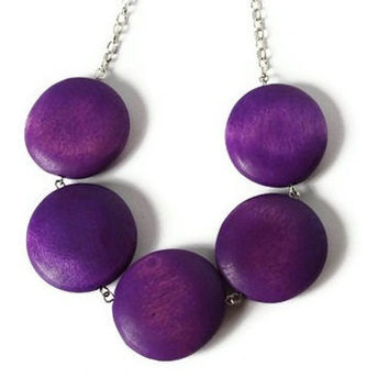 Chunky Purple Necklace. Wood Necklace. Geometric Big Round Tangerine Wood Beads.