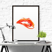 Illustration Make Up Wall Decor Red Lips Watercolor Print Fashion Poster Abstract Lips Art Lipstick Chic Wall Art Kiss Print Fashion