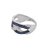 Blue & White Diamond Ring Sterling Silver .02ct - Criss Cross Weave Design
