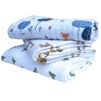 Baby Blanket 120CM Anais Muslin Cotton Two Layers Thicken Newborn Swaddling Baby Swaddle Bedding Fox Receiving blanket
