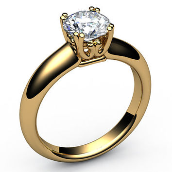 Forever one moissanite engagement ring beautiful Design Solitaire Ring in 18K gold