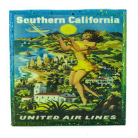 Handmade Coaster Vintage Travel - Southern California United Air Lines Handmade Recycled Tile Coaster