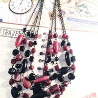Vintage Multi-Strand Necklace, 4-Strand Necklace, Vintage Jewelry, Burgundy, Black, Boho Chic