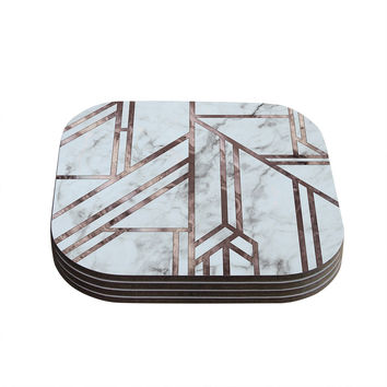 "KESS Original ""Dark Marble Mosaic"" Digital Geometric Coasters (Set of 4)"
