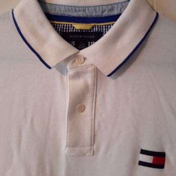 Vtg Tommy Hilfiger White Collared Polo Shirt Preppy sz XL