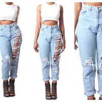 All SIZES High Waist Custom Made Destroyed Boyfriend Jeans Plus Denim Sizes 0-20 - xs s m l xl xxl