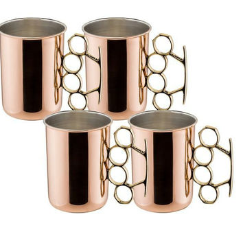 20 oz Brass Knuckle Moscow Mule Mug - Set of 4