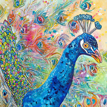 Proud Peacock-Art by Jen Callahan Tile,Cuttingboard,Paper Print