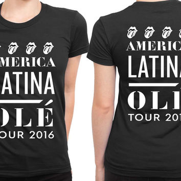 The Rolling Stones America Latina Ole Tour 2 Sided Womens T Shirt