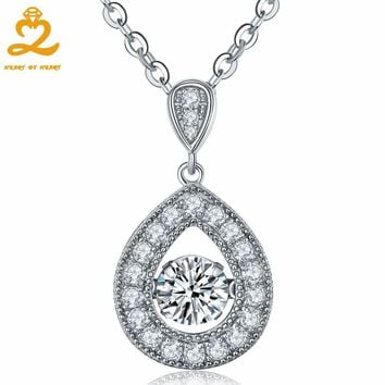 Heart By Heart Fashion Design Necklace Jewelry Water Drop Pendant with Silver Hand Spinner Chain Jewelry Wedding Pendant