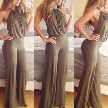 Army Green Halter Backless Flared Leg Jumpsuit