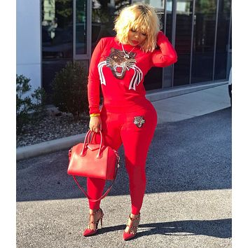 GUCCI Popular Women Casual Sequins Print Long Sleeve Top Pants Set Two-Piece Sportswear Red