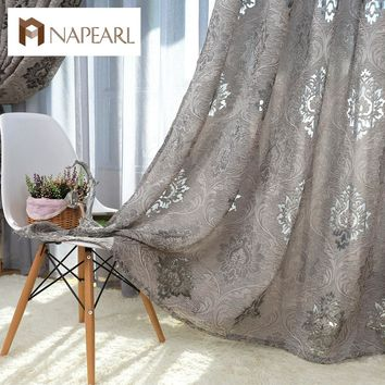 European style design jacquard curtain fabrics for window balcony living room European style curtains gray