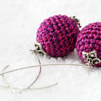 Lilac and Purple Crochet cotton earrings. spring summer fashion jewelry. made in Israel