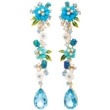 Turquoise Vine 18K Gold Earrings | Moda Operandi