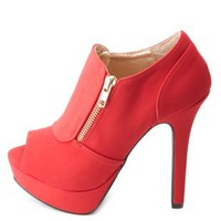 Qupid Side-Zip Peep Toe Platform Heels by Charlotte Russe - Dark Red