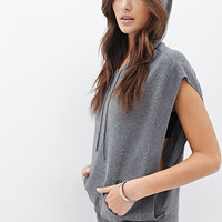 LOVE 21 Hooded Batwing Top Heather Grey