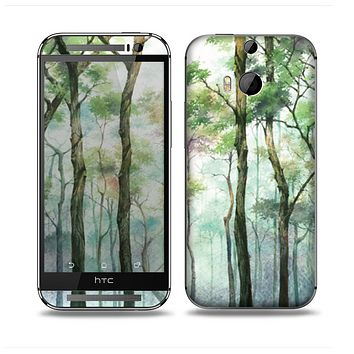 The Watercolor Glowing Sky Forrest Skin for the HTC One M8