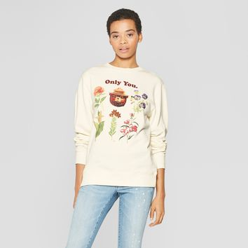 Women's Floral Print Smokey Bear Sweatshirt - (Juniors') Cream