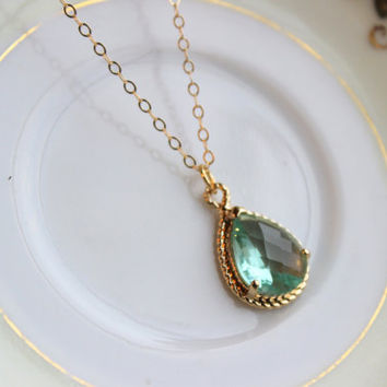 Green Prasiolite Teardrop Necklace Gold - 14k Gold Filled Chain - Bridesmaid Necklace - Prasiolite Green Bridesmaid Jewelry Wedding Jewelry