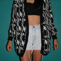 80s Slouchy Hipster Sweater / 80s Abstract Black and White Sweater / SWEATER / Portlandia sweater