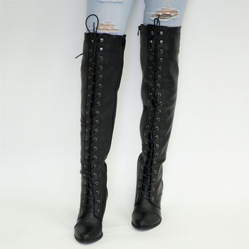 Lace Up Over Knee Chunky Boot