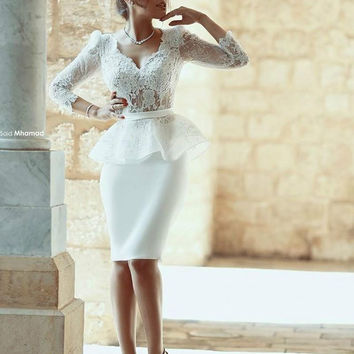 White Lace Cocktail Dresses Appliques Peplum Formal Dress with Sleeve 2016 Satin Knee Length Mermaid Arabic V Neck Cocktail Gown