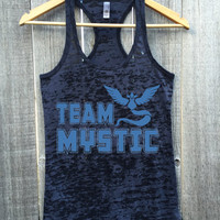 Team Mystic. Team Blue Womens Gym Gift Workout Burnout Racerback Tank Top