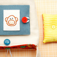 3 Piece Sewing Set, Compact Size, Cheeky Monkey, Pincushion, Needle Book, Tote Bag, Beginner Sewing Set, Red and Teal, Kids