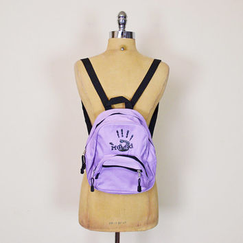 Vintage 90s Lavender Purple Backpack Rucksack Shoulder Bag Purse Small Backpack Mini Backpack 90s Backpack 90s Grunge Backpack Club Kid Rave