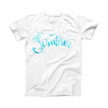 The Summer Blue Watercolor Seagulls ink-Fuzed Front Spot Graphic Unisex Soft-Fitted Tee Shirt