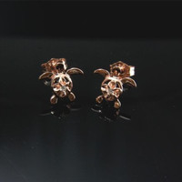 ROSE GOLD PLATED SILVER 925 HAWAIIAN PLUMERIA TURTLE STUD POST EARRINGS CZ