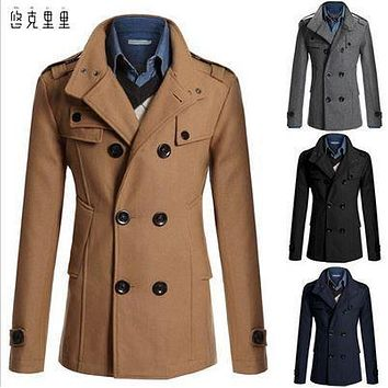 free shipping of the new 2016 European fashion slim simple atmospheric long mounted men's wool coat