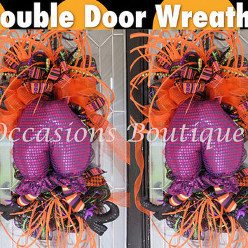 Double Door Halloween wreaths, Halloween Decoration, Door Hanger, Halloween Door swag, Wreath for Halloween, Fall Wreaths, RAZ