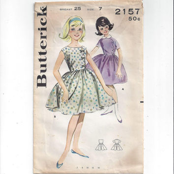 Butterick 2157 Pattern for Girls' Scallop Detailed Dress, Size 7, Breast 25, From 1950s, Cute Classic Pattern, Vintage Pattern