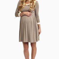 Taupe-Beige-Trim-3/4-Sleeve-Maternity-Dress