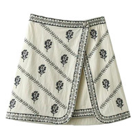 White High Waist Embroidery Detail A-Line Skirt
