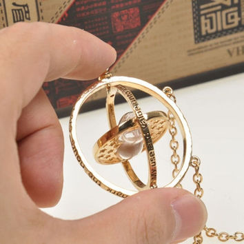 Harry Potter Time Turner Necklace Hermione Granger Rotating Spins Gold Hourglass + Gift Box