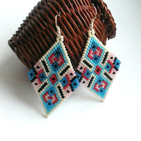 Large Diamond Shape Seed Bead Earrings-Beaded Ethnic Earrings-Ethnic Beadwork Diamond Earrings-Large Beadwoven Ethnic Earrings