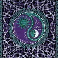 Handmade Celtic Celestial Yin Yang 100% Cotton Tapestry Bedspread Purple Twin