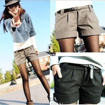 LMFYV3 2015 autumn and winter women's turn-up straight woolen bootcut short pants plus large big size casual shorts black grey