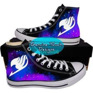 DCCK1IN custom converse fairy tail galaxy shoes anime shoes custom chucks painted shoes