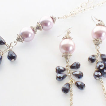 Necklace And Earring Set Black Tear Shaped Swarovski Crystals Large Lilac Seed Beads 925 Silver Plated Nickel Free Exquisitely Designed