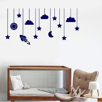 Vinyl Wall Decal Moon Cloud Star Nursery Kids Room Art Stickers Unique Gift (ig3666)