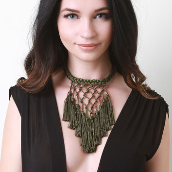 Braided Tassel Bib Necklace | UrbanOG